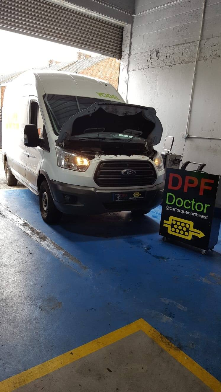 Ford Transit with blocked DPF in for Repair & Clean in Newcastle