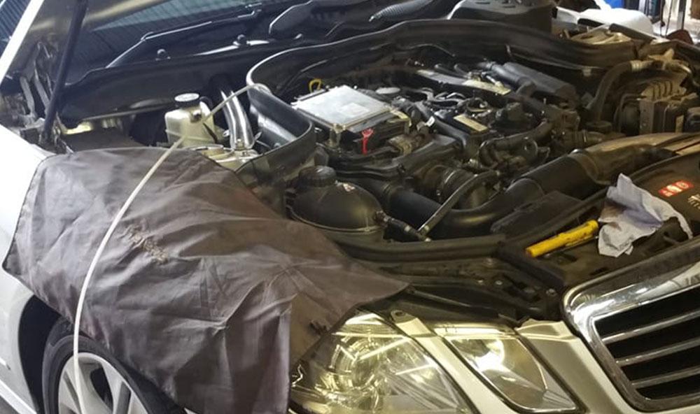 Mercedes e class in for DPF clean in Havant