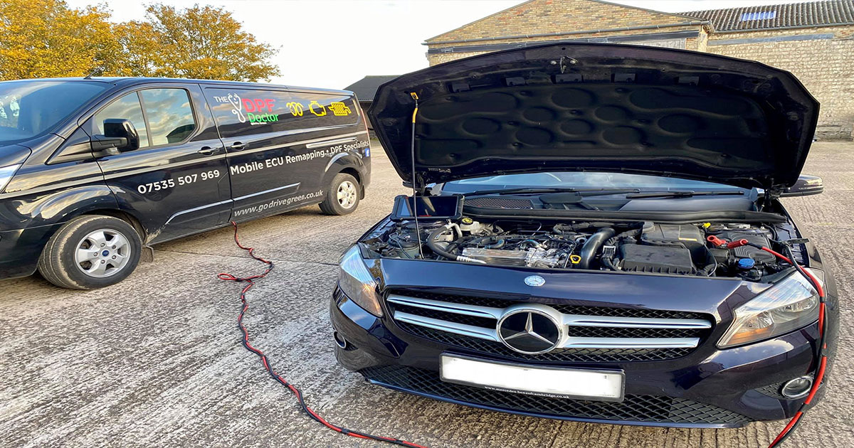 Mercedes A Class being given a DPF clean